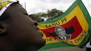 Lors d'un meeting en 2005, un supporter de Robert Mugabe brandit un drapeau de son parti, la Zanu-PF. (ALEXANDER JOE / AFP)