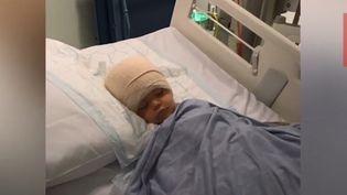 Capture d'écran d'une vidéo montrant Jack Young, en 2016, après son opération pour une tumeur au cerveau. (DAILY MIRROR)