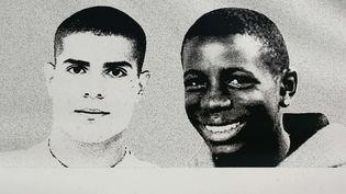 Double portrait de Zyed (G.)et Bouna, morts en 2005, à Clichy-sous-Bois. (OLIVIER LABAN-MATTEI / AFP)