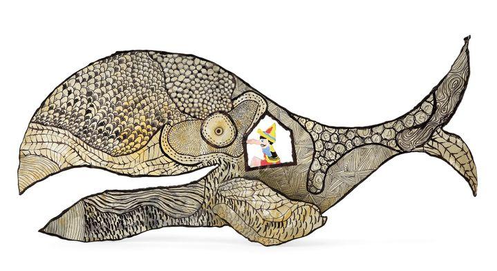 Pinocchio dans le ventre de la baleine par Elizabeth Garouste.Monstro, 2014.Acrylique sur métal découpé71 x 32 cm  (DR)
