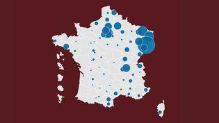 Carte des décès covid par département (FRANCEINFO)