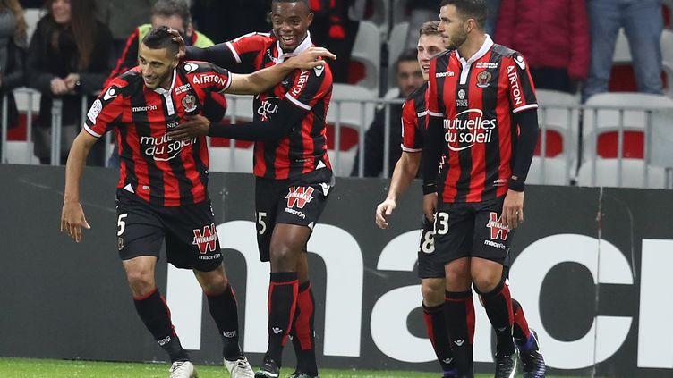La joie des Niçois après le but de Younés Belhanda (VALERY HACHE / AFP)