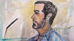 Un dessin de Nordahl Lelandais lors du premier jour de son procès devantla courd'assises de Chambéry, en Savoie, le 3 mai 2021. (MARIE WILLIAMS / AFP)