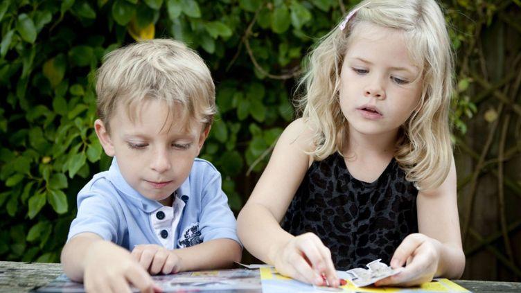 Harry Chapple et Georgia Brown, 5 et 6 ans respectivement, le 11 août 2010 à Aldershot (Royaume-Uni). Ils font partie du Mensa, le club international des personnes à fort potentiel intellectuel, que va rejoindre Alice, qui a un QI de 162. (VICKI COUCHMAN / REX / SIPA)