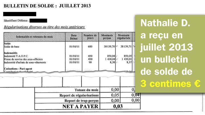 En juillet 2013, Nathalie D. a reçu un bulletin de solde de… 3 centimes d'euros. (RADIO FRANCE)