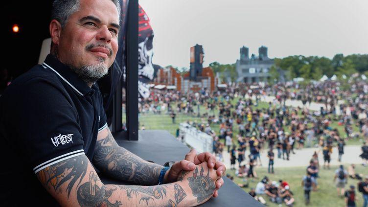 Ben Barbaud, le patron du Hellfest, le festival des musiques extrêmes, lors de sa 14e édition, le 21 juin 2019 à Clisson (Loire-Atlantique, France). (OLIVIER CORSAN / MAXPPP)
