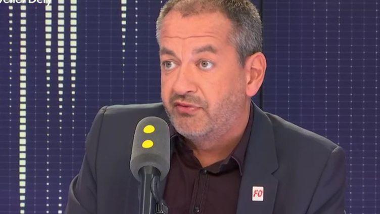 Pascal Pavageau, secrétaire général de Force ouvrière, invité vendredi 31 août de franceinfo. (RADIO FRANCE / FRANCE INFO)