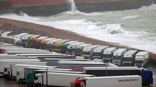Des camions de marchandises sur un parking près du port de Douvres (Royaume-Uni), d'où partent les ferries traversant la Manche, le 21 décembre 2020. (ADRIAN DENNIS / AFP)