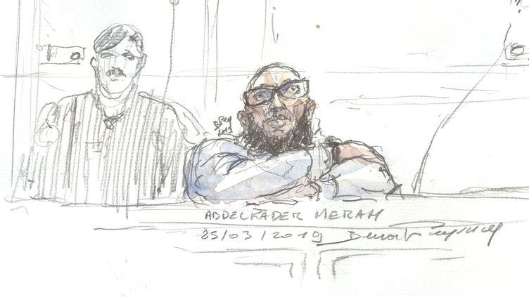 Un dessin de presse représentant Abdelkader Merah, le frère du terroriste de Toulouse, à son procès le 25 mars 2019. (BENOIT PEYRUCQ / AFP)