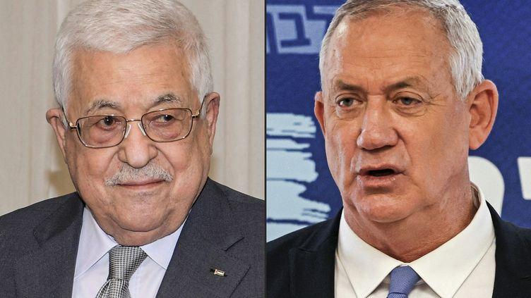 Le président de l'Autorité palestinienne Mahmoud Abbas et le ministre israélien de la Défense Benny Gantz. (THAER GHANAIM / AFP)