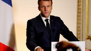 Emmanuel Macron, à Epernay, le 14 novembre 2019. (FRANCOIS NASCIMBENI / AFP)