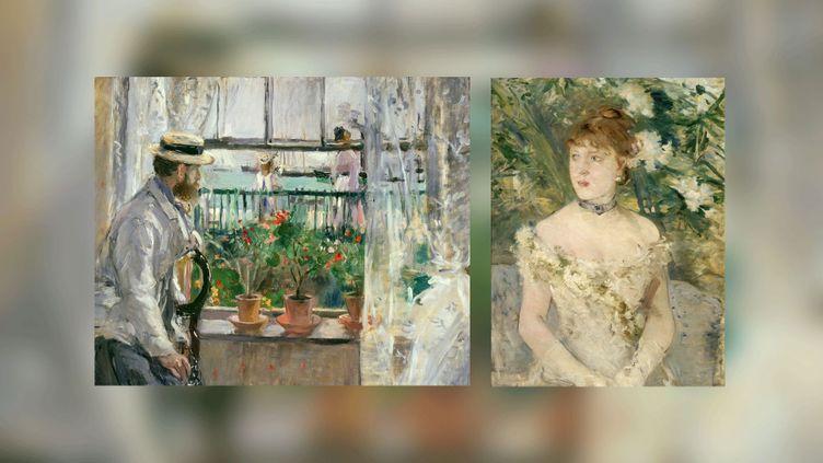 """Berthe Morisot : à gauche, En """"Angleterre (Eugène Manet à l'île de Wight)"""", 1875,Paris, musée Marmottan-Claude Monet, Fondation Denis et Annie Rouart, legs Annie Rouart, 1993 - à droite, """"Jeune femme en toilette de bal"""", 1879, Paris, musée d'Orsay (A gauche © Musée Marmottan Monet, Paris / the Bridgeman Art Library - A droite Photo © Musée d'Orsay, Dist. RMN-Grand Palais / Patrice Schmidt)"""