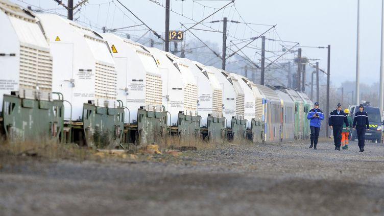 Un train transportant des déchets radioactifs de La Hague vers Gorleben, en Allemagne, arrêté à Rémilly (Moselle), en novembre 2011. (JEAN-CHRISTOPHE VERHAEGEN / AFP)