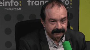 Philippe Martinez, secrétaire général de la CGT, sur franceinfo, le 1er février 2017. (RADIO FRANCE / CAPTURE D'ÉCRAN)