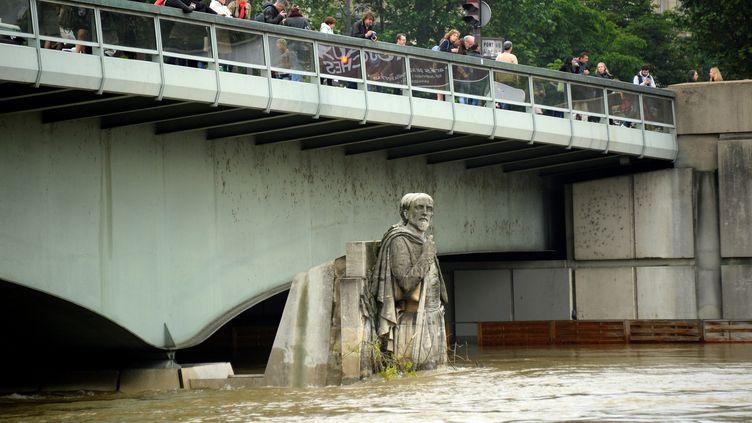 Le célèbrezouave du pont de l'Alma à Paris en partie englouti par les eaux de la Seine, jeudi 2 juin 2016. (BERTRAND GUAY / AFP)