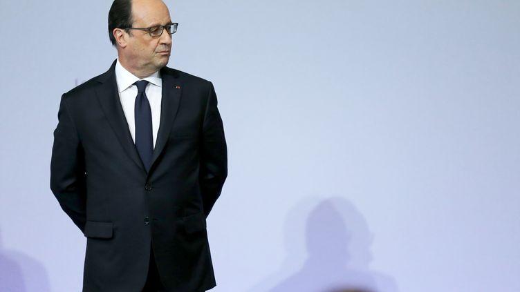 François Hollande, le 17 mai 21016 en déplacement àGrand-Quevilly (Seine-Maritime). (CHARLY TRIBALLEAU / AFP)