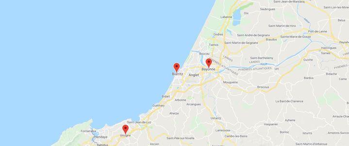 Le G7 aura lieu à Biarritz du 24 au 26 août 2019. (GOOGLE MAPS / FRANCEINFO)