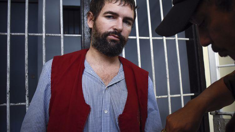 Le Français Félix Dorfinau tribunal de Mataram (Indonésie), après avoir appris sa condamnation à mort pour trafic de drogue, le 20 mai 2019. (ARSYAD ALI / AFP)