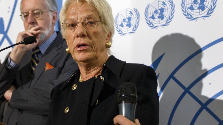 Carla Del Pontelors d'une conférence de presse à Genève (Suisse), le25 octobre 2012. (FABRICE COFFRINI / AFP)