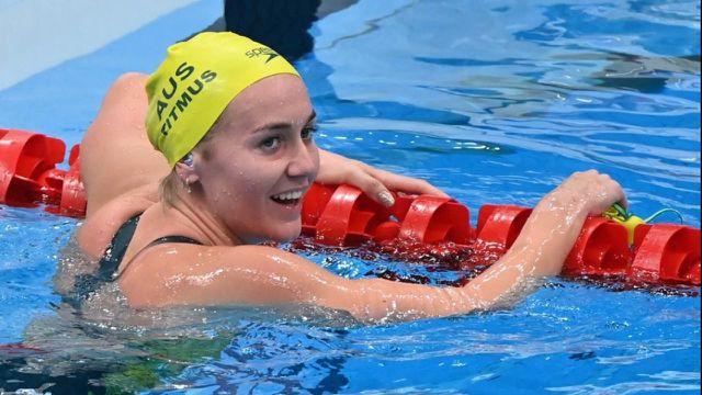 Ariarne Titmus décroche une nouvelle médaille d'or en plus du record olympique sur ce 200m nage libre. Bernadette Haughey et Penny Oleksiak complètent le podium.