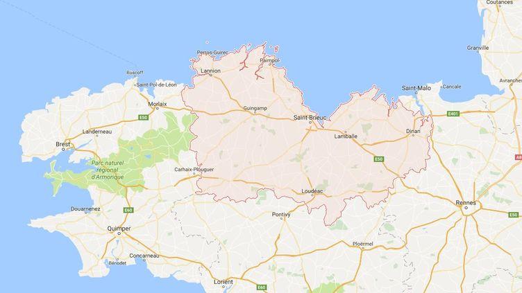 Capture d'écran de Google maps pointant la région de Guingamp (Côtes-d'Armor) où une sexagénaire a été victime d'une fausse annonce coquine, dans un journal local, avec son prénom et son numéro. (GOOGLE MAPS)