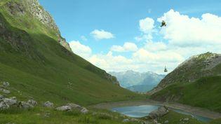 Un hélicoptère de l'IPHB transporte le matériel d'un berger depuis les plaines jusqu'à sa cabane en montagne. (France 3 Bordeaux)
