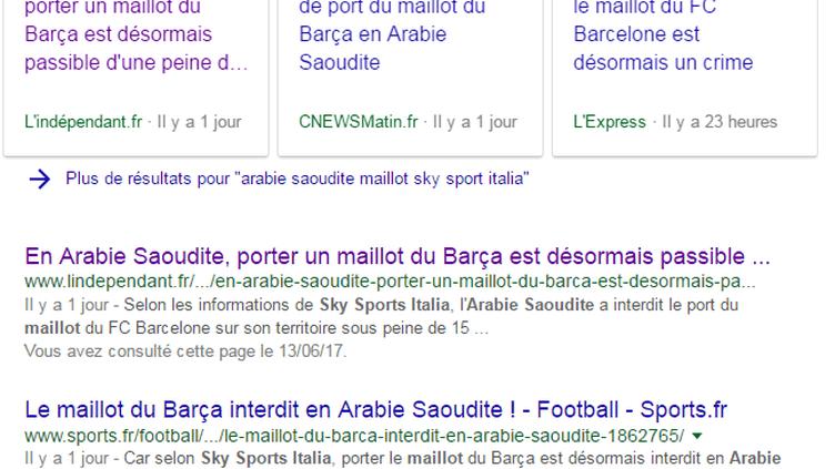 Des dizaines d'articles affirment à tort que l'Arabie saoudite interdit le port du maillot du Barça. (CAPTURE D'ÉCRAN GOOGLE ACTU)