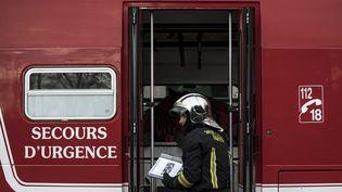 Un pompier durant un exercice àVilleneuve-Saint-Georges (Val-de-Marne), le 29 mars2017. (PHILIPPE LOPEZ / AFP)