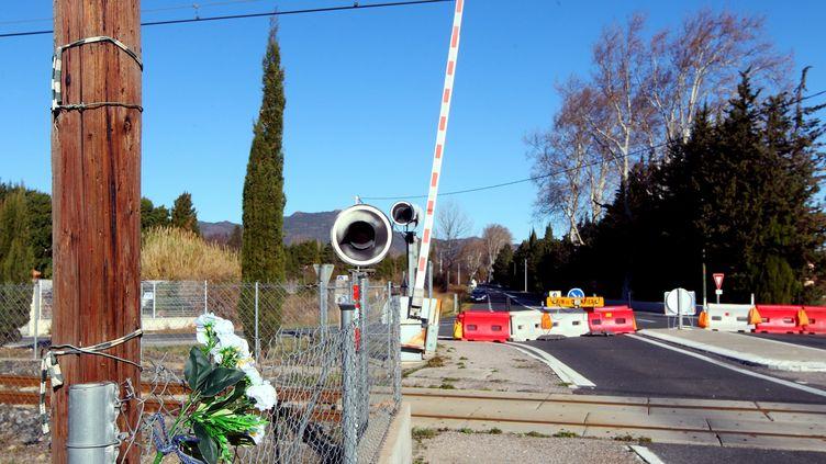 C'est à ce passage à niveau, à Millas (Pyrénées-Orientales), qu'a eu lieu la collision entre un bus scolaire et un TER le 14 décembre 2017. (MAXPPP)