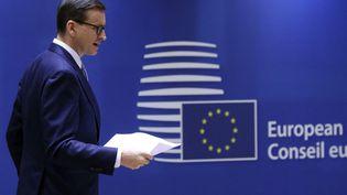 Le Premier ministre polonais Mateusz Morawiecki à Bruxelles (Belgique), le 21 octobre 2021. (YVES HERMAN / POOL / AFP)