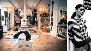Boutique Renoma aujourd'hui (à gauche) et pull jacquard, laine et cachemire, 1974 (à droite).  (Archives Renoma)