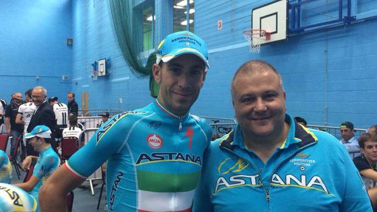 Vincenzo Nibali et Paolo Slongo, lors de la présentation des équipes