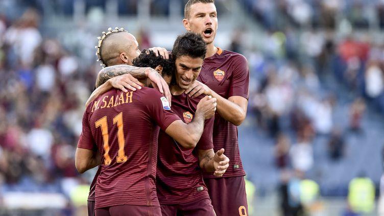 La joie des joueurs de l'AS Roma (GIUSEPPE MAFFIA / NURPHOTO)