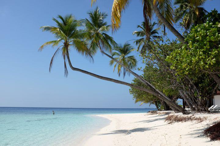 Une plage sur une île touristique de l'archipel des Maldives, le 18 avril 2014. (BERND WEISSBROD / DPA / AFP)