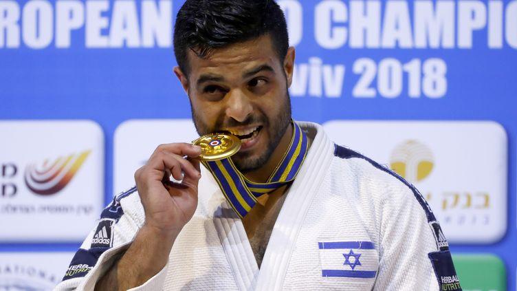 Le judoka israélien Sagi Muki, lors des championnats d'Europe, à Tel-Aviv, le 27 avril 2018. (JACK GUEZ / AFP)