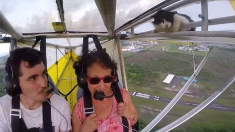 Romain Jantot, pilote du club HLM 16-34,sa passagère et une troisième invitée surprise, Minou, au dessus de Kourou (Guyane). Capture d'écran de la vidéo postée le 21 juin 2015 sur YouTube. (ROMAIN JANTOT / YOUTUBE)