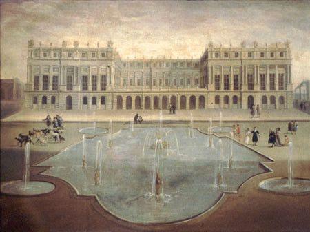 Le château de Versailles avant la construction de la galerie des Glaces  (wikimedia commons)