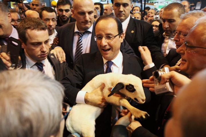 François Hollande, alors candidat socialiste à l'élection présidentielle, au Salon de l'agriculture, le 28 février 2012. (MAXPPP)