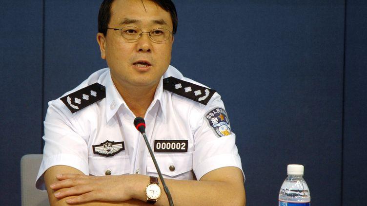 Wang Lijun lorsqu'il était numéro un de la police de Chongqing (sud de la Chine), le 3 août 2008. (HUANG HUO / IMAGECHINA / AFP)