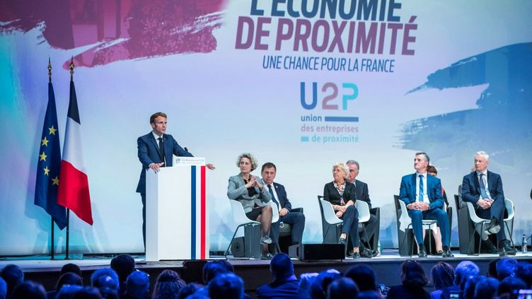 Le président de la République, Emmanuel Macron, le 16 septembre 2021 devantles Rencontres de l'Union des entreprises de proximité (U2P). (CHRISTOPHE PETIT TESSON / AFP)