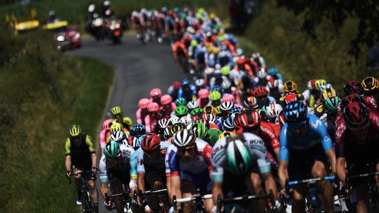 Le peloton du Tour de France lors de la 10e étape entre Saint-Flour et Albi, le 15 juillet 2019. (JEFF PACHOUD / AFP)