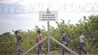 Des migrants bloqués en Serbie, près deAsttohatolom, par laclôture érigée par la Hongrie, le 15 septembre 2015. (DADO RUVIC / REUTERS)