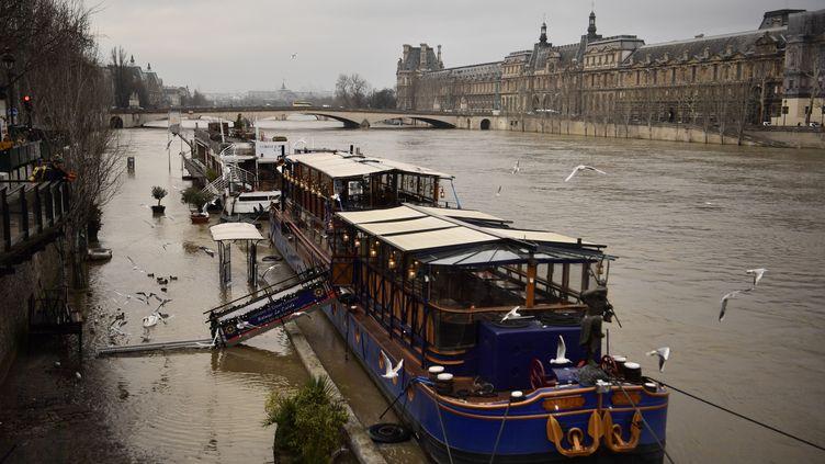 La Seine devant le musée du Louvre à Paris, le 9 janvier 2018. (CHRISTOPHE SIMON / AFP)