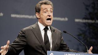 Nicolas Sarkozy, lors du meeting de Sens commun dans le cadre de la campagne pour la présidence de l'UMP, le 15 novembre 2014, salle de L'Equinoxe, à Paris. (CITIZENSIDE / YANN KORBI / AFP)
