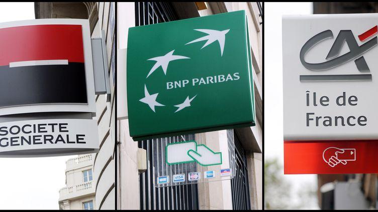 Les logos de la Société générale, de BNP Paribas et de Crédit agricole. (MICHEL GANGNE / AFP)