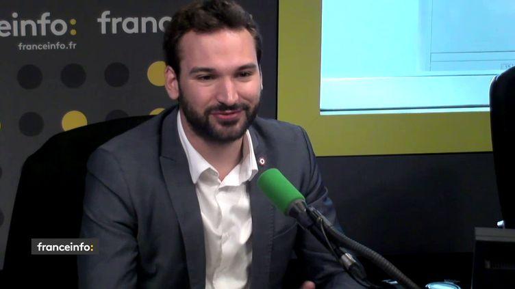 Le député La France insoumise Ugo Bernalicis sur franceinfo, le 26 juin 2018. (FRANCEINFO / RADIOFRANCE)