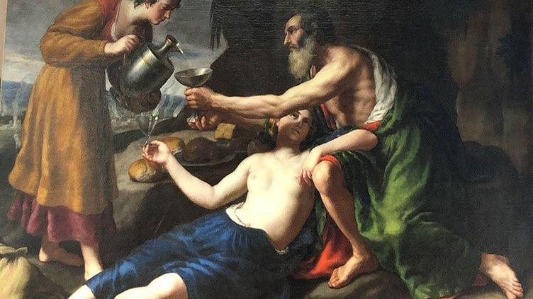 """Plan resserré du tableau de Nicolas Poussin""""Loth avec ses deux filles lui servant à boire"""" restitué à ses propriétaires après avoir été retrouvé en Italie (photo publiée le 1er avril 2021) (HANDOUT / CARABINIERI PRESS OFFICE / AFP)"""