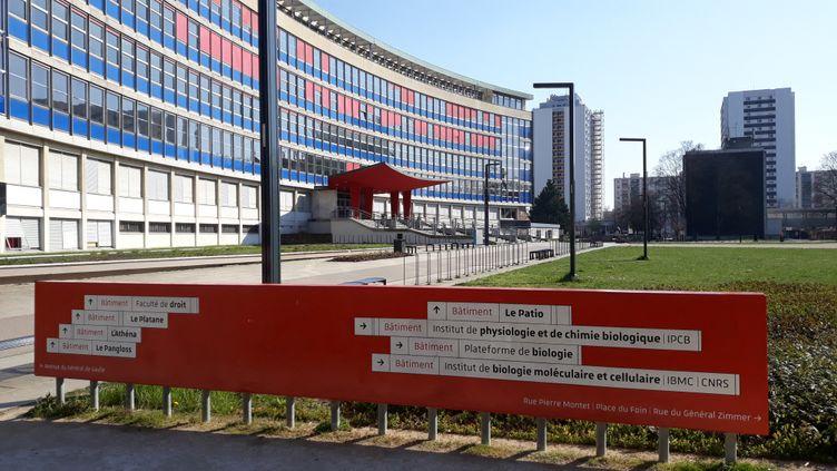 Le campus et la fac de droit à Strasbourg, vide en raison du confinement. (CORINNE FUGLER / RADIO FRANCE)