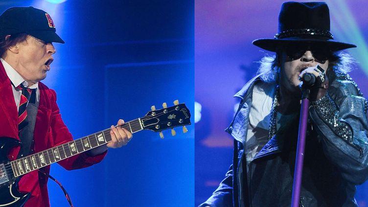 Angus Young de AC/DC et Axl Rose de Guns N' Roses, réunis sur scène pour la tournée européenne d'AC/DC sans Brian Johnson.  (David Rowland/REX/Shutterstock et Rex Features/REX/SIPA)