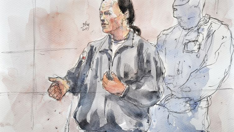 Un croquis de Tony Meilhon, le meurtrier de Laëtitia Perrais, réalisé lors de son procès, le 22 mai 2013 à Nantes (Loire-Atlantique). (BENOIT PEYRUCQ / AFP)